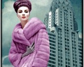typography, fashion photography, vintage photograph, mid century, new york city, pink, blue, architecture, retro, pink ,purple