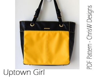 Tote Handbag Sewing Pattern for Pleather, Leather or Fabric - Uptown Girl by ChrisW Designs