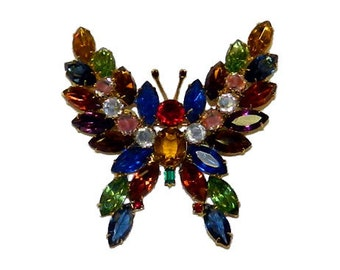 Large 1960's Vintage Multicolor Rhinestone Butterfly Brooch