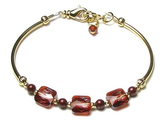 Red Magma Swarovski Crystal and Bordeaux Pearl Adjustable Gold Charm Bracelet, Trendy Boho Mini Square, Classic Jewelry for Women, Trending