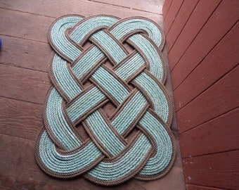 Doormat 30 x 20 Rope Rug Green With Natural Accents Nautical Decor Door mat