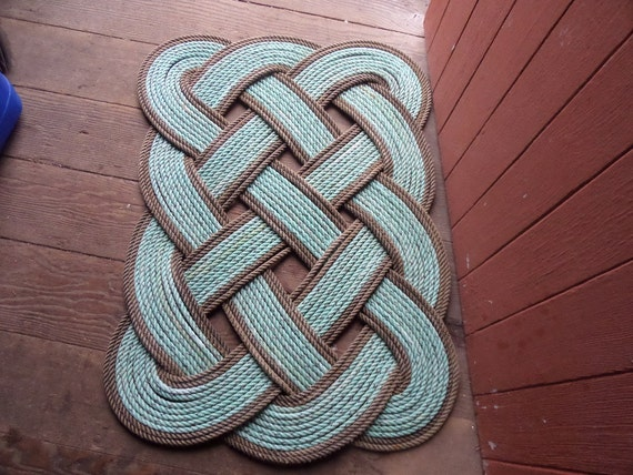 30 x 20 Rope Rug Green With Natural Accents Nautical Decor Doormat