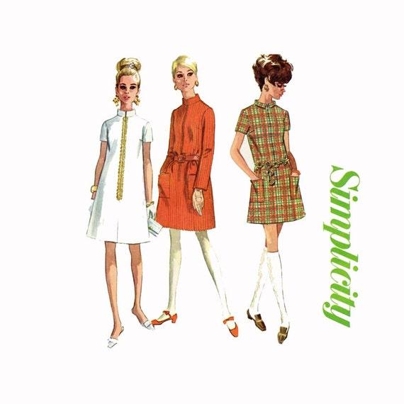 1960s Dress Pattern Uncut Bust 31 Uncut Simplicity 7366 Shift Dress Mod Tent Dress High Mandarin Nehru Collar Womens Vintage Sewing Patterns