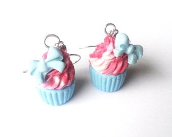 Bow Cupcake Earrings ( cute earrings polymer clay food miniature food blue cupcake pink cupcake blue bow cupcake cupcake jewelry food )
