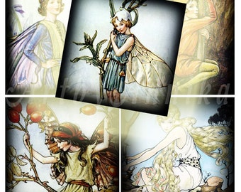 Digital Collage of Little fairy - 63 1x1 Inch Square JPG images - Digital Collage
