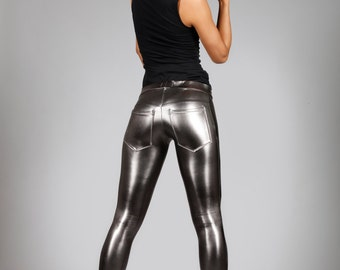 Metallic Jeans-Back Leggings, Gun Metal Spandex Pants, Dark Silver Meggings, Futuristic Stage Outfit, Glam Rock Clothing, by LENA QUIST