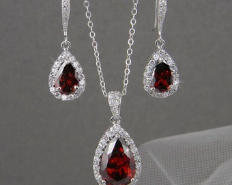 RED Bridal Jewelry. RED Crystal wedding jewelry,  Bridal Earrings, Bridesmaids jewelry, Ariel Bridal Jewelry SET