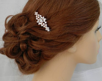 Rose Gold Hair Comb, Wedding Hair comb, Swarovski Pearls and crystal, Wedding jewelry, Hair clip, Harper Bridal Comb