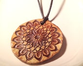 Handmade Ceramic Medallion Pendant on Leather Cord