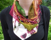 Wine theme scarf, scarf necklace, Italy, vineyard, multi strand scarf, collage, wine, green, white, gold, multi strand necklace