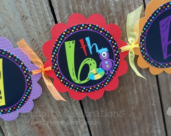 Personalized Happy Birthday Banner -Monster Pool Bash -Birthday Banner -Monsters -Photo Prop -Pool Party