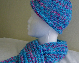 Girls' Winter Hat and Scarf - Electric Blue and Hot Pink