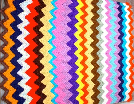 Vintage rainbow chevron stripe crochet blanket