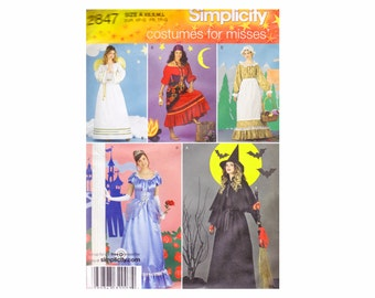 Costumes for Misses Simplicity 2847 Sewing Pattern Sizes XS X M L Bust 30 1/2-42 OOP UNCUT Princess Cinderella Angel Witch Gypsy Pioneer