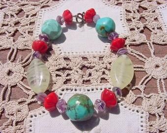 Summertime Fiesta Genuine Turquoise and Vintage Lampwork Bracelet