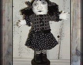 soft sculpted fabric goth art doll ghost black n white HAGUILD HAFAIR OFG