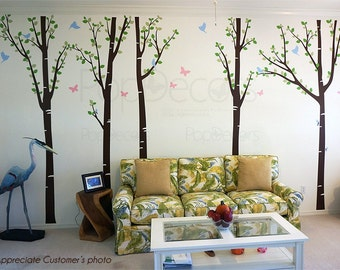 Tree Forest with Birds and Butterflies - Office Tree Wall Decals Living Room Tree Wall Decors Nature Birds Wall Decal - Free Squeegee