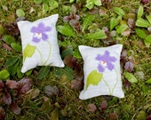 Set of Two Organic Lavender Sachets- Violet Applique- February Birth Flower- Valentine's Day Gift