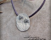 earth prints by calDESIGN Naturals... Nutsedge Grass & Leather - Organic, Natural, Bronze, Pendant - Earth Day Gift