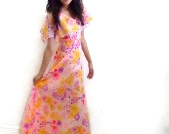 Vintage 70s Chiffon Bubble Gum Pink Floral A-Line Summer Party Dress, Size Small, S