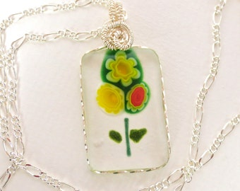 Fused Glass Triple Flower Silver Wire Wrapped Pendant Siver Figaro Chain Large