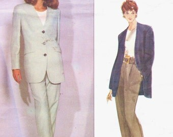 90s DKNY Womens Boyfriend Jacket and Tapered Pants Vogue Sewing Pattern 2918 Size 12 14 16 Bust 34 36 38 UnCut Vogue American Designer