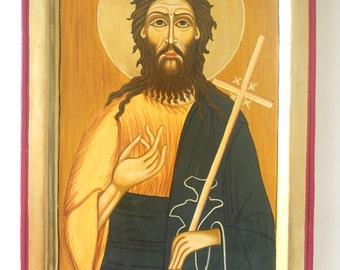 Saint John the Baptist, Romanian Byzantine icon St John the Baptist Religious Icon Patron Saint of Baptisms & Christenings hand painted icon