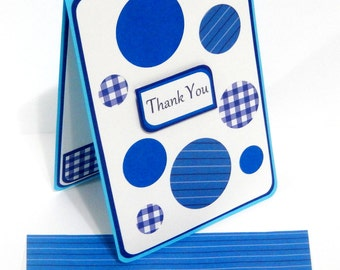 Thank You Card with Matching Embellished Envelope- Blue Polka Dots
