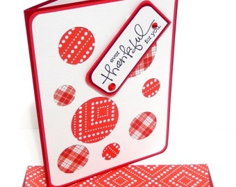 Thankful Card with Matching Embellished Envelope- Preppy