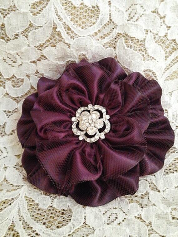 Eggplant Satin Flowers Set Of 6 Flower Wedding Decorations Handmade