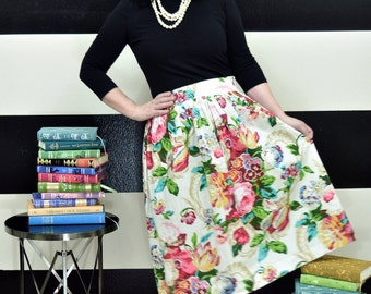 Floral Midi Skirt, Mini Skirt or Maxi Ball skirt  full, gathered skirt all sizes custom made to order