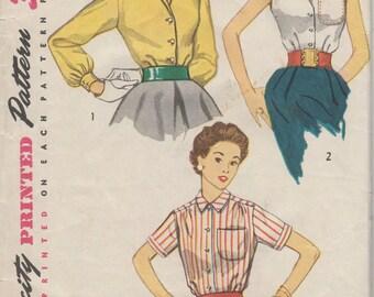 Bust 34-1950's Misses' Blouse Simplicity 4256 Size 16