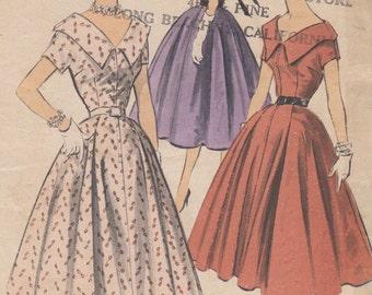 Bust 34-1950's Misses' Dress Advance 7965 Size 16