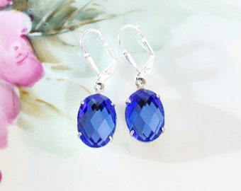 Sapphire Earrings Blue Crystal Rhinestone Dangle Earrings September Birthstone Mother Gift Idea Bridal Gift Wedding Anniversary