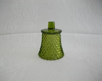 Home Interiors Vintage Glass Green Diamond Candle Cup for a Candle Holder Sconce, Glass Candle Cup