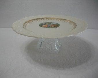 Cake Stand / Cake Plate / Vintage Vogue Dinnerware Washington Colonial Pattern Cake Plate / Cupcake Stand / Pedestal Dish / Wedding Decor