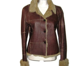 1970s Brown Leather Jacket Fur Lined Collar and Cuffs 70s Short Leather Jacket  Light Brown Fur Collar and Cuffs Patchwork Leather Jacket