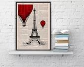 Eiffel Tower Balloon Ride Print on Vintage Book -vintage book print France art BPTV027b