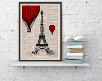 Eiffel Tower Balloon Ride Print on Vintage Book -vintage book print France art BPTV027b