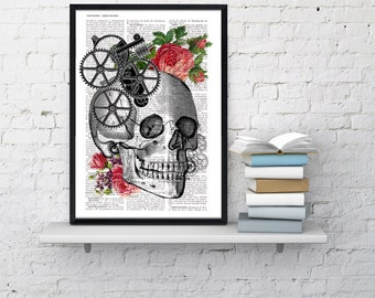 Summer Sale Skull Book Print - Upcycled Dictionary book page Human skull with roses- Vintage art print SKA004