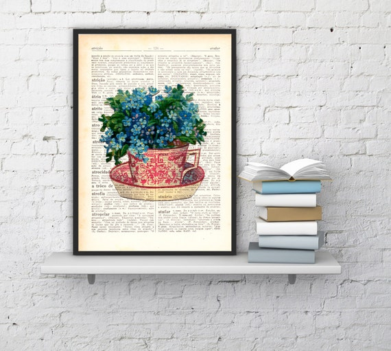 Decorative art Teacup with forget me not flowers bouquet- House decor art print on dictionary book page art home decor tea time art BPTV068