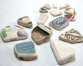 Variety of Sea Pottery, Purple, Plum, Burgandy, Blue, Sponge Design, Textured Geometric Small/ Medium for Jewelry Supplies