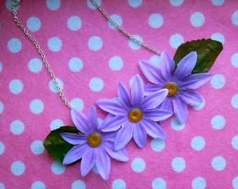 Flower Necklace - Purple Daisy Statement Necklace