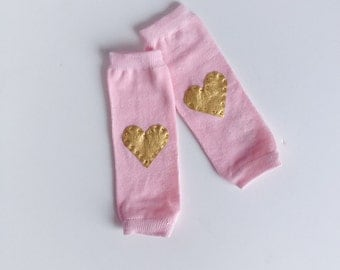 Pink Leg Warmers, Gold Heart Leg Warmers
