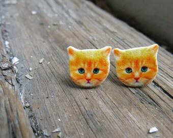 Cat Orange Kitten Earrings Stud Post Fun Animal Lover Cat Lady Quirky Kitschy Gift Pets Girl Present Image Art Best Seller Trendy Accessory