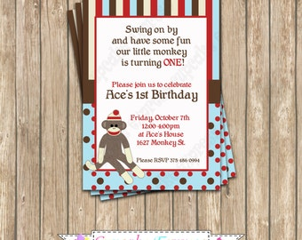 DIY Sock Monkey Light Blue Birthday Printable Party Invitation red brown monkey NEED them printed see price chart...