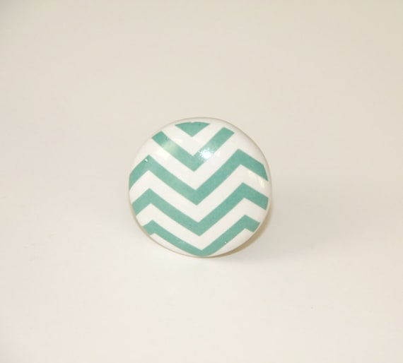 Green Chevron Drawer Knob New Ceramic Knobs Teal By Trulytina