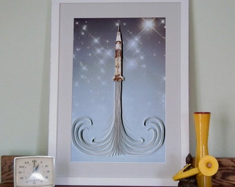 Apollo Rocket Poster, Stylized Technical Apollo Rocket Drawing, Art deco / Art Nouveau influence, paper quilling,  Paper art print