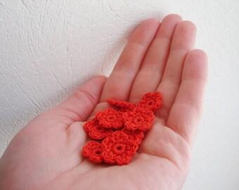 Crochet Flower Appliques, Tiny Small Cute Flowers, Decorative Motifs, Juicy Halloween Orange, Set of 10, Embellishments, Scrapbooking