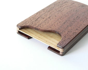 Wooden card holder - double sided case for business and credit cards/cash - party wallet